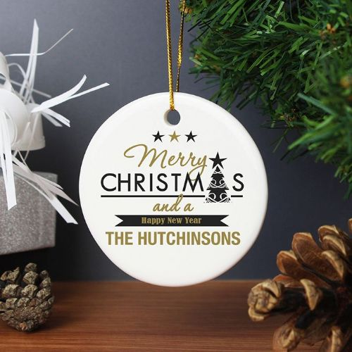 Personalised Merry Christmas And A Happy New Year Round Ceramic Decoration